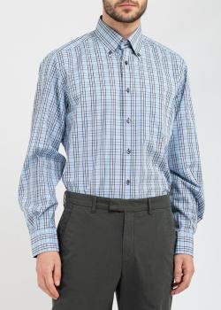 Голубая рубашка Belmonte Classico в коричневу клетку, фото