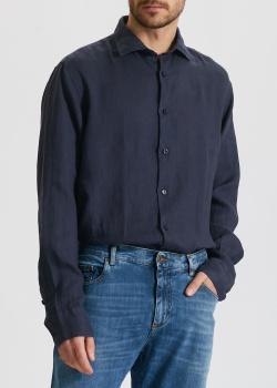 Льняная рубашка Paul&Shark синего цвета, фото