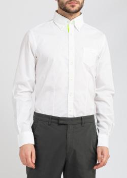 Белая рубашка Belmonte Trend с салатовыми вставками, фото