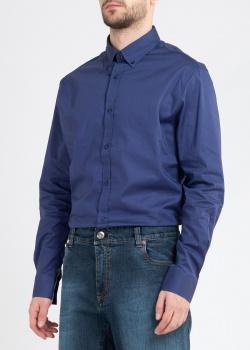 Синяя рубашка Roberto Cavalli Sport с брендовым принтом, фото