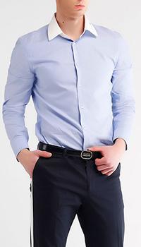 Голубая рубашка Gucci с белым воротником, фото