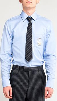 Голубая рубашка Gucci с принтом на кармане, фото