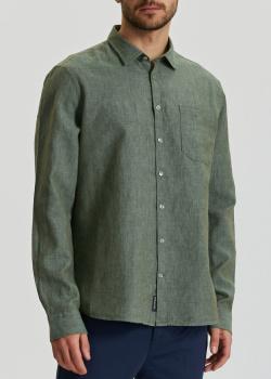 Рубашка из льна и хлопка Maerz оливкового цвета, фото