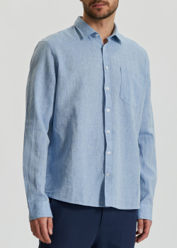Хлопково-льняная рубашка Maerz голубого цвета, фото