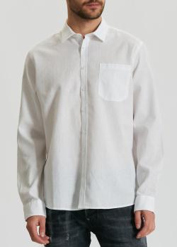 Белая рубашка Maerz из хлопка и льна, фото