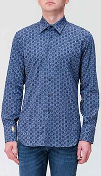 Синяя рубашка Billionaire с монограммой бренда, фото