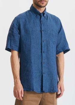 Льняная синяя рубашка Paul&Shark с коротким рукавом, фото