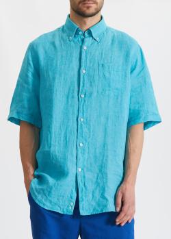Льняная рубашка Paul&Shark бирюзового цвета, фото