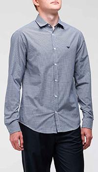 Клетчатая рубашка Emporio Armani с логотипом, фото