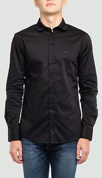 Черная рубашка Emporio Armani с логотипом на воротнике, фото