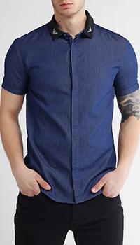 Джинсовая рубашка Emporio Armani с принтом на воротнике, фото