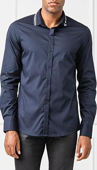 Темно-синяя рубашка Emporio Armani с принтом на воротнике, фото