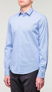 Синяя рубашка Emporio Armani в мелкую клетку, фото