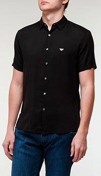 Черная рубашка Emporio Armani с коротким рукавом, фото