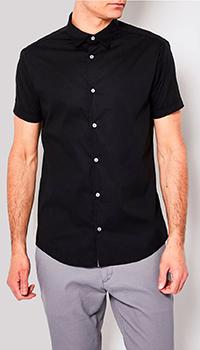 Однотонная рубашка Emporio Armani в черном цвете, фото