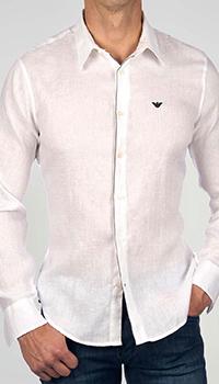 Льняная рубашка Emporio Armani с контрастным кантом, фото