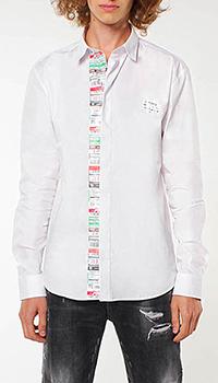 Белая рубашка Frankie Morello с брендовым принтом, фото