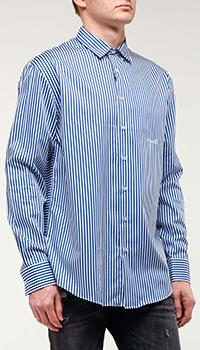 Полосатая рубашка Frankie Morello с принтом на спине, фото