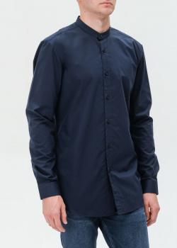Темно-синяя рубашка Hugo Boss Hugo с воротником-стойкой, фото