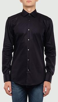 Однотонная рубашка Hugo Boss черного цвета, фото