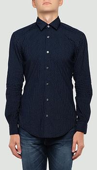 Синяя рубашка Hugo Boss с узором, фото