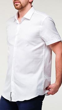 Мужская рубашка Hugo Boss с коротким рукавом белого цвета, фото