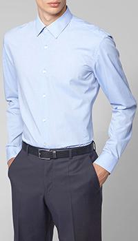 Голубая рубашка Hugo Boss в мелкую клетку, фото