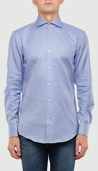 Голубая рубашка Hugo Boss с длинным рукавом, фото