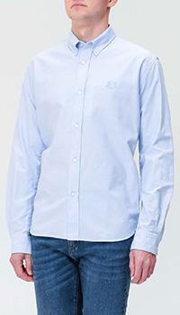 Голубая рубашка Kenzo с вышивкой-тигром, фото