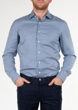 Хлопковая рубашка Cesare Attolini в бело-синюю клетку, фото