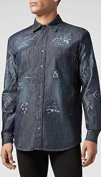 Мужская джинсовая рубашка Philipp Plein с принтом, фото