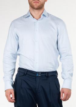 Бело-голубая рубашка Brioni из хлопка, фото