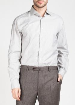 Белая рубашка Brioni в серо-бежевую клетку, фото