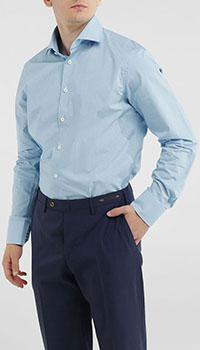 Голубая рубашка Van Laack в мелкую клетку, фото