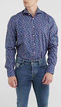 Синяя рубашка Van Laack с морским принтом, фото