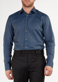 Синяя рубашка Brioni в мелкую клетку, фото