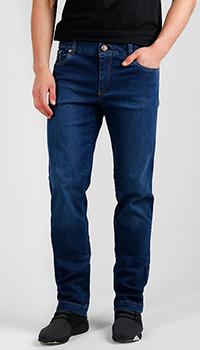 Джинсы синие Billionaire с вышивкой на кармане, фото