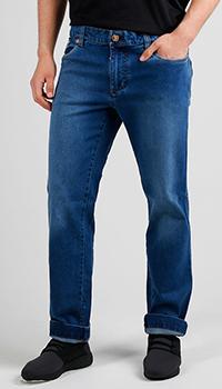 Синие джинсы Billionaire с золотистой вышивкой, фото