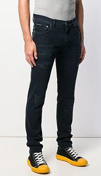 Темно-синие джинсы Dolce&Gabbana с потертостями, фото