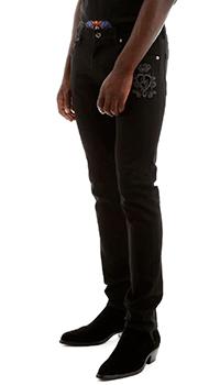 Черные джинсы Dolce&Gabbana с вышитым гербом, фото