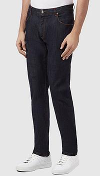 Темно-синие джинсы Billionaire Slim Fit Crest с вышивкой-лого на кармане, фото