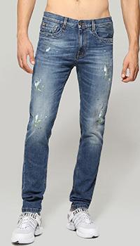 Голубые джинсы Bikkembergs с эффектом пятен от краски, фото