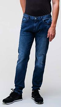 Синие джинсы Emporio Armani с лого на заднем кармане, фото