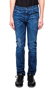 Синие мужские джинсы Emporio Armani с потертостями, фото