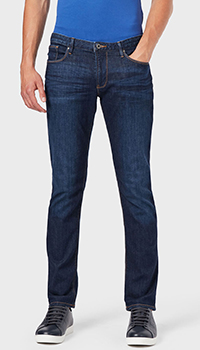 Синие джинсы Emporio Armani с контрастной строчкой, фото