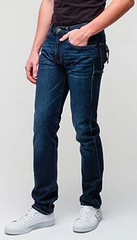 Прямые джинсы Emporio Armani темно-синего цвета, фото