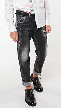 Рваные джинсы Frankie Morello серого цвета, фото
