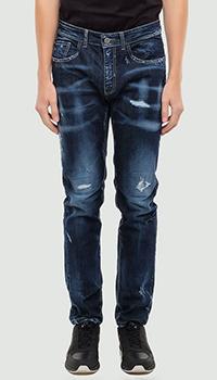 Рваные джинсы Frankie Morello синего цвета, фото