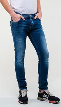 Зауженные джинсы Frankie Morello с потертостями, фото