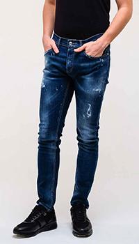 Синие джинсы Frankie Morello с брызгами краски, фото